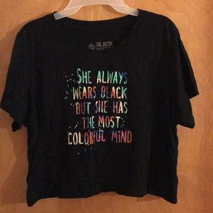 Women's 2x crop top black colorful quote topic